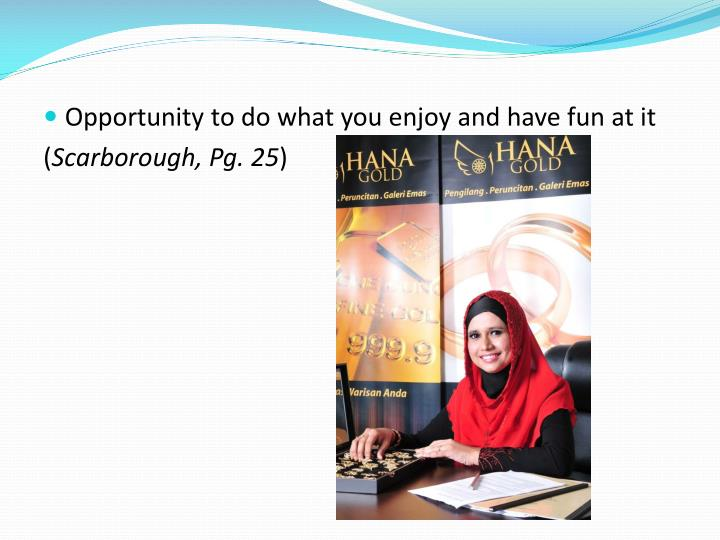 Opportunity to do what you enjoy and have fun at it