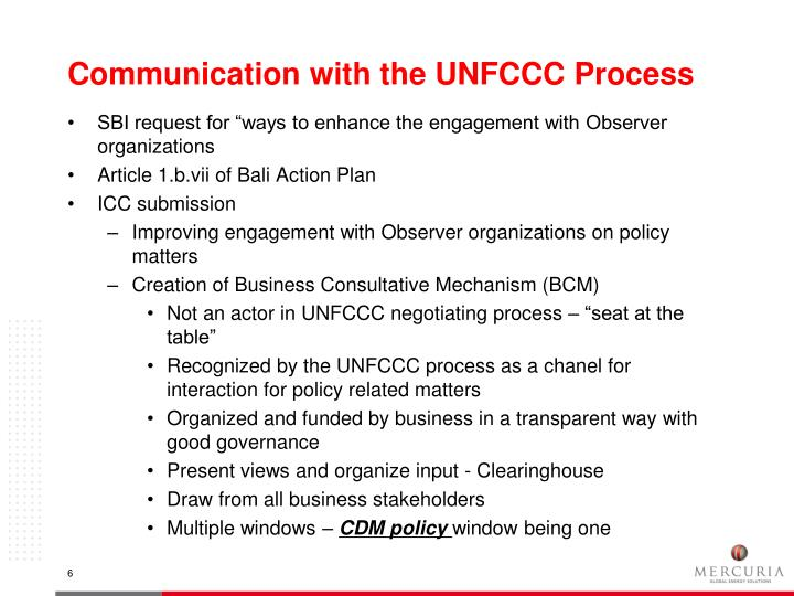 Communication with the UNFCCC Process