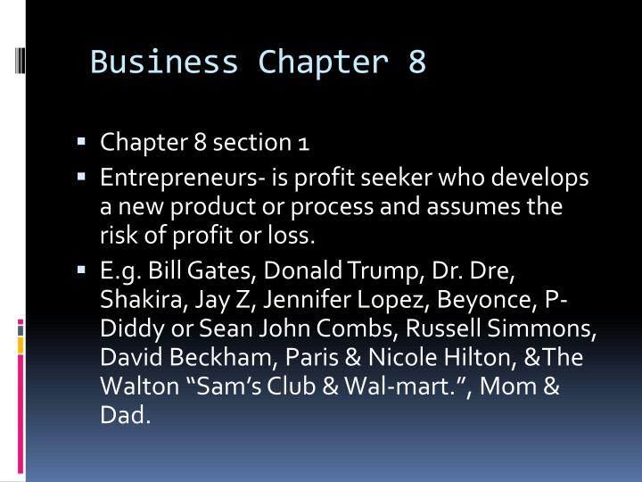 business chapter 8 n.