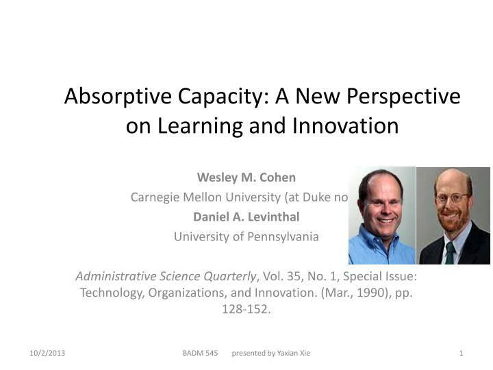 absorptive capacity a new perspective on learning and innovation n.