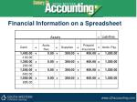 financial information on a spreadsheet