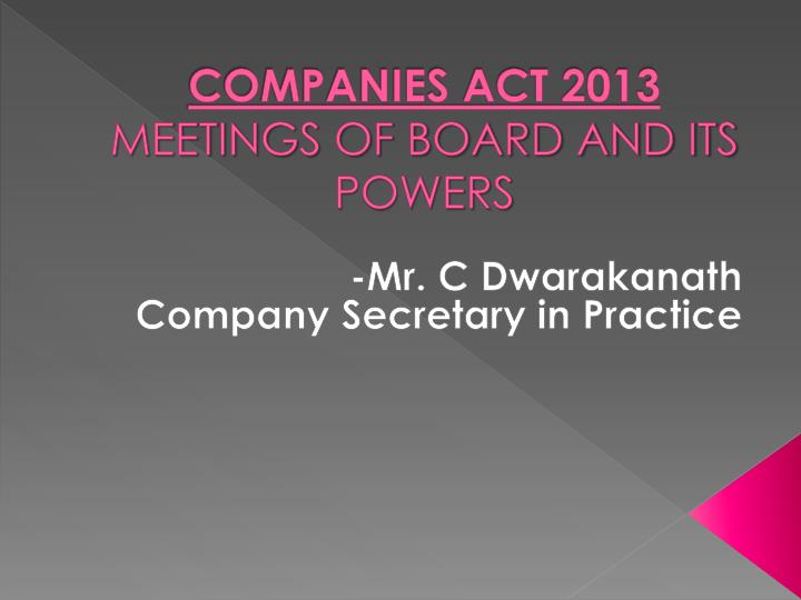 companies act 2013 meetings of board and its powers n.