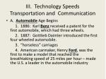 iii technology speeds transportation and communication