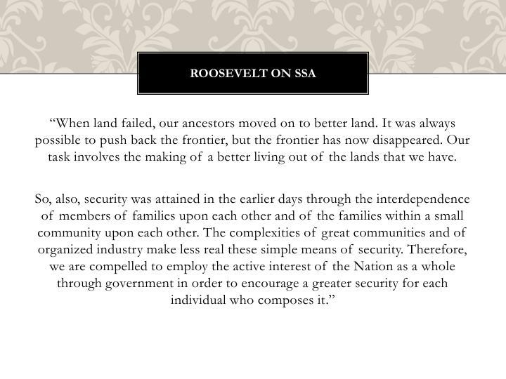 Roosevelt on SSA