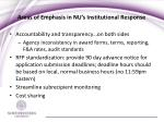areas of emphasis in nu s institutional response