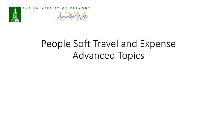 people soft travel and expense advanced topics n.