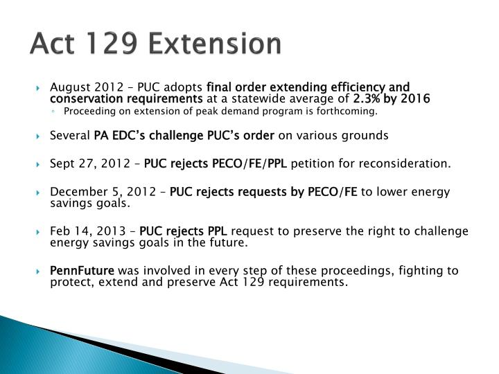 Act 129 Extension