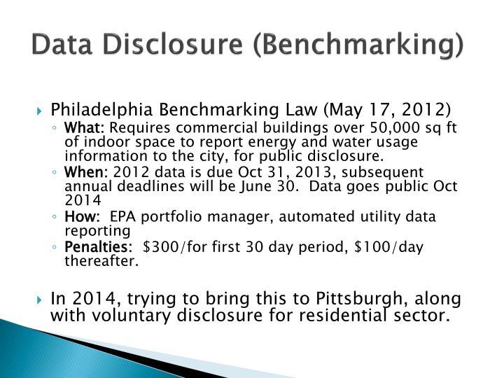 Data Disclosure (Benchmarking)
