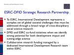 esrc dfid strategic research partnership