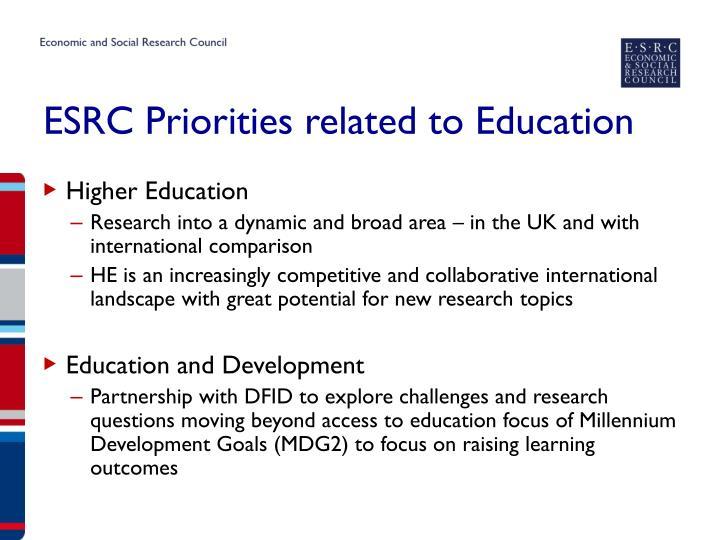ESRC Priorities related to Education