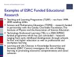 examples of esrc funded educational research