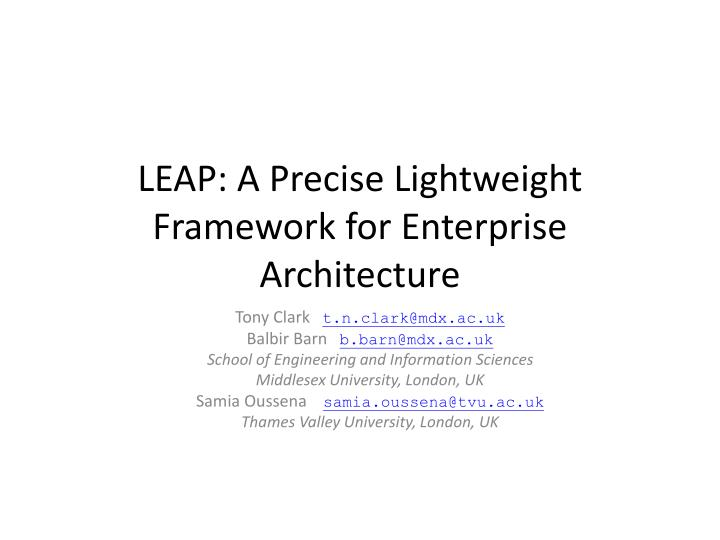 leap a precise lightweight framework for enterprise architecture n.