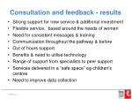consultation and feedback results