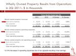 wholly owned property results from operations in 2q 2011 in thousands