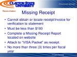 missing receipt