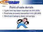 point of sale denials
