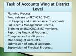 task of accounts wing at district level