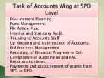 task of accounts wing at spo level