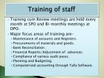 training of staff