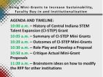 using mini grants to increase sustainability faculty buy in and institutionalization