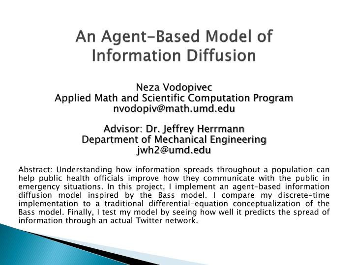 an agent based model of information diffusion n.