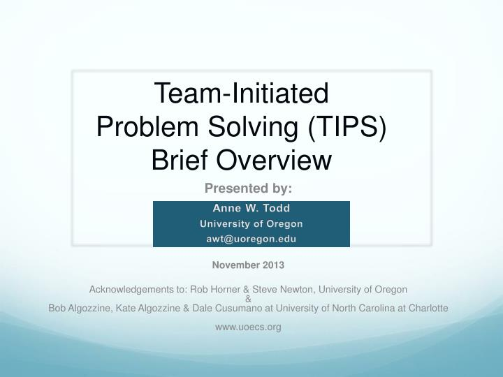 team initiated problem solving tips brief overview n.