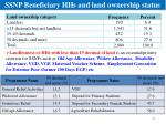 ssnp beneficiary hhs and land ownership status