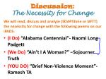 discussion the necessity for change