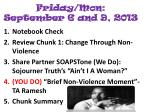 friday mon september 6 and 9 2013