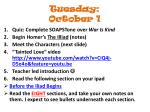 tuesday october 1