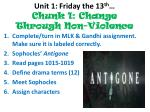 unit 1 friday the 13 th chunk 1 change through non violence