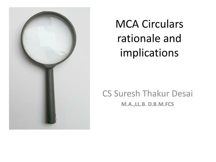 mca circulars rationale and implications n.