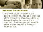 problem d continued
