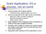 grant application it s a process not an event