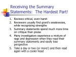 receiving the summary statements the hardest part