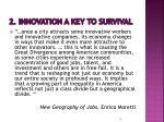 2 innovation a key to survival