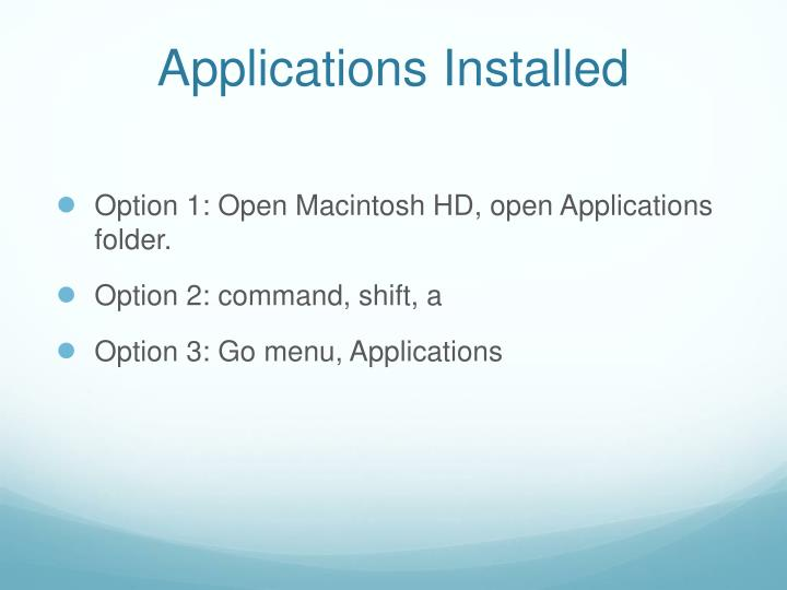 Applications Installed