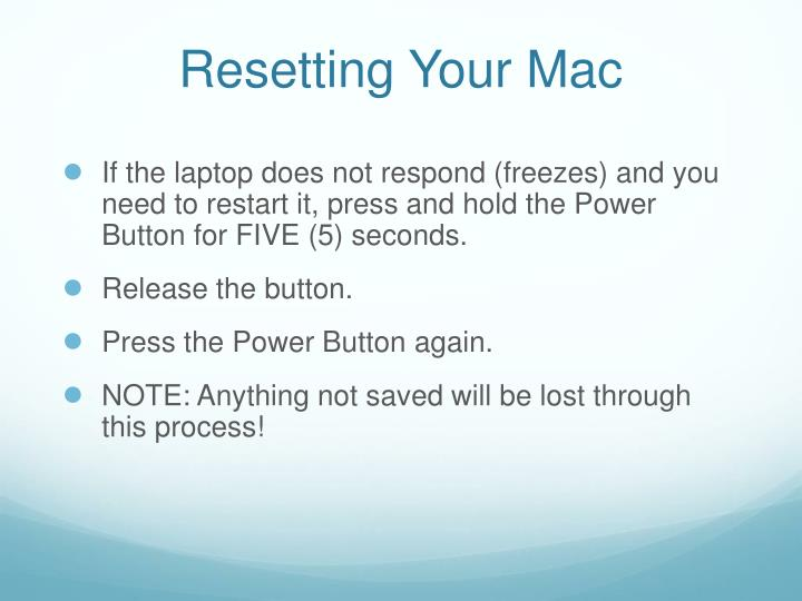 Resetting Your Mac