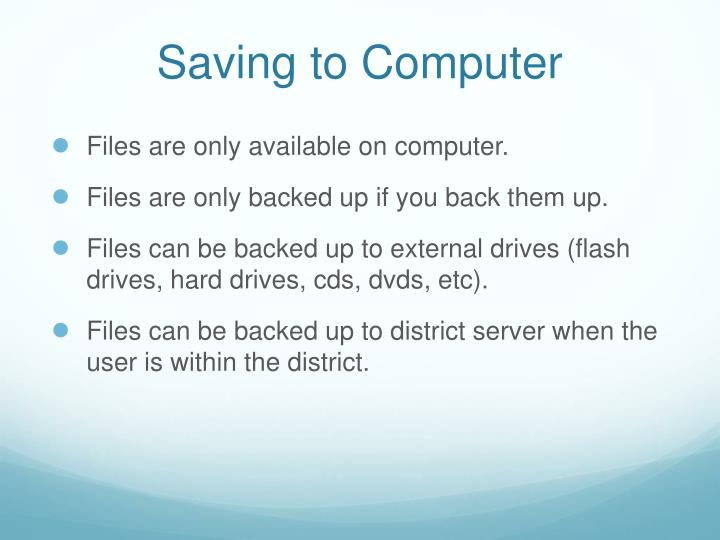 Saving to Computer