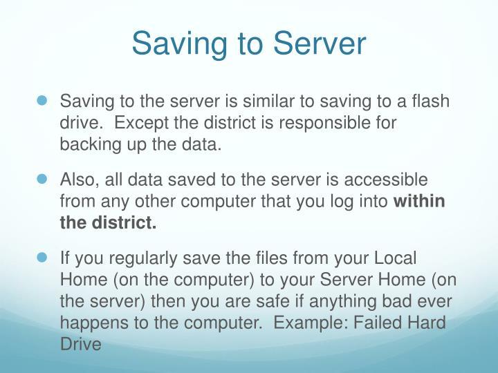 Saving to Server