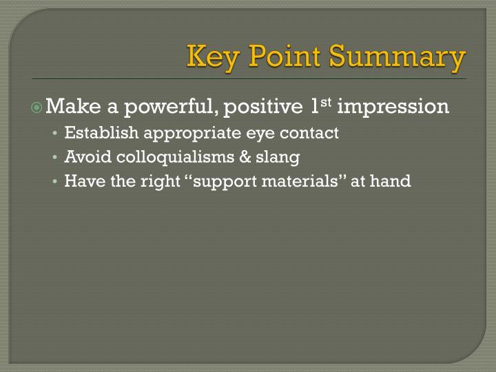 Key Point Summary