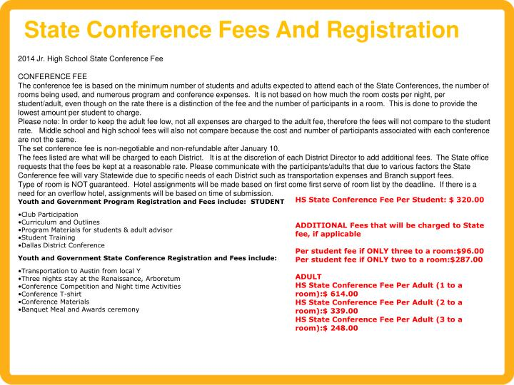 State Conference Fees And Registration