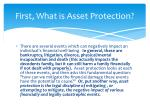 first what is asset protection