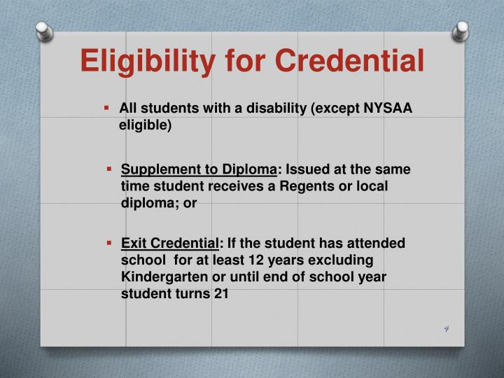 Eligibility for Credential
