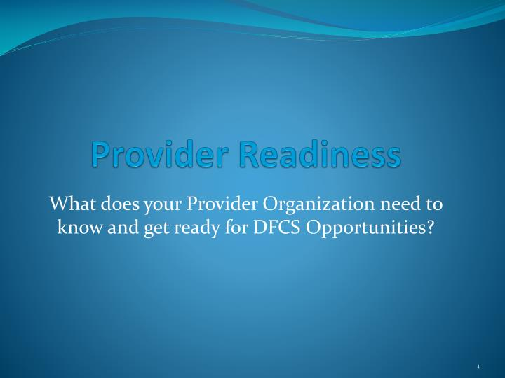 provider readiness n.