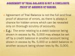 agreement of trial balance is not a conclusive proof of absence of errors
