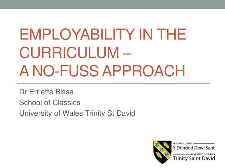employability in the curriculum a no fuss approach n.