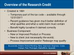 overview of the research credit