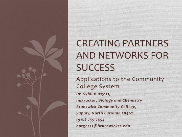 Creating partners and networks for success