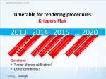 timetable for tendering procedures kriegers flak1
